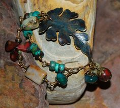 Patina leaf brass and turquoise bracelet by solagratiadesigns, $47.00