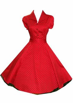 50s Vintage Tea Party Dress - Red w/ Black Polka Dots (XS= 4(US) 8(UK)) $50