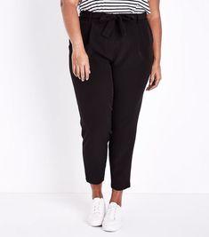 Curves Black Tie Waist Slim Leg Trousers | New Look