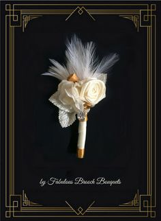 Groom Boutonniere, Gatsby Wedding Flowers, Rsh Orders Welcome! Roaring 20s Wedding, Gatsby Wedding, Wedding Groom, Dream Wedding, Gatsby Theme, Corsage And Boutonniere, Groom Boutonniere, Boutonnieres, Floral Wedding