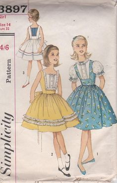 95889ecefc 1960 s Sewing Pattern - Simplicity No 3897 Childs One - Piece Dress Size 14  UnCut Factory Folded