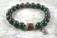 Indian bloodstone stacking stretch bracelet with brecciated jasper accent and sterling silver Buddha charm by Earthwear Collection