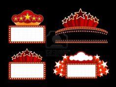 Retro illuminated Movie marquee Blank sign Stock Photo