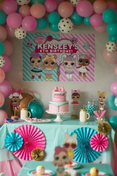 The dessert table at this L.L Surprise Doll Birthday Party are amazing! The dessert table at this L.L Surprise Doll Birthday Party are amazing! Love the decor! 7th Birthday Party Ideas, Birthday Table Decorations, Birthday Party Tables, Balloon Decorations Party, Birthday Balloons, Party Themes, Ideas Party, Surprise Birthday, 5th Birthday