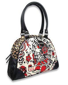 Liquor Brand El Fin Tattoo Rose Skull Drawing Punk Bowling Bag Handbag Purse