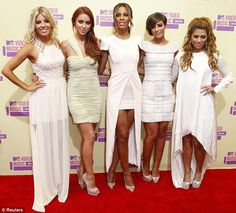 Making an entrance: The Saturdays (L-R) Mollie King, Una Healy, Rochelle Humes, Frankie Sandford and Vanessa White arrive at the MTV Video Music Awards in Los Angeles