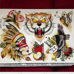 Hand painted traditional tattoo flash