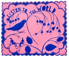 Listen to the World, Screenprint, Photo © Jonty Wilde Paper Book, Paper Art, Rob Ryan, Royal College Of Art, Design Art, Graphic Design, Illustration Art, Illustrations, Collage Art