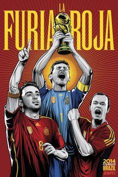 Xavi, Iniesta e Casillas. Ilustração de Cristiano Siqueira em campanha da ESPN para a Copa do Mundo 2014.