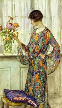 Arranging Flowers by William Henry Margetson - Arranging Flowers Painting - Arranging Flowers Fine Art Prints and Posters for Sale Art And Illustration, Fine Art, Woman Painting, Anime Comics, Beautiful Paintings, Oeuvre D'art, Female Art, Flower Art, Art History