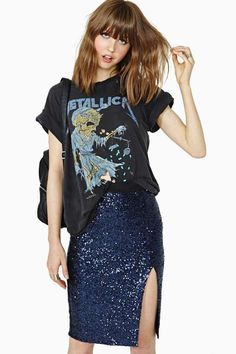 Moonlit Night Sequin Skirt, mix and match, slit, glit.