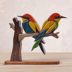 World Menagerie Eilley Bee Eaters Wood Bird Sculpture Intarsia Wood Patterns, Wood Craft Patterns, Intarsia Woodworking, Woodworking Patterns, Bird Sculpture, Sculptures, Wood Mosaic, Mosaic Tiles, Wall Tiles