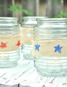 The Shabby Creek Cottage | Decorating | Craft Ideas | DIY: make this: patriotic tea light holders