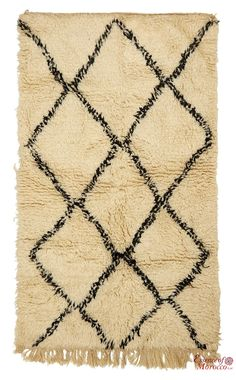 Beni Ourain Rug Vintage. Moroccan Pure Wool . Hand-knotted Handmade in Morocco Genuine and Authentic. 172 cm x 100 cm (BOS2)