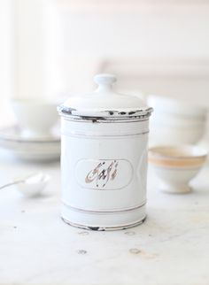 antique French enamelware canister