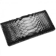 Portofel Lung de Piele de Piton, Negru Leather Wallet, Exotic, Bags, Clothes, Accessories, Women, Fashion, Handbags, Outfits