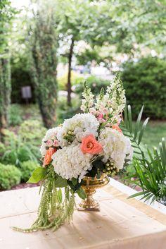 Romantic Cascading Hydrangea Altar Arrangement | Floral Arrangement by Posh Life Floral | The Colonade – Scranton, Pennsylvania | Danielle Coons Photography https://www.theknot.com/marketplace/danielle-coons-photography-scranton-pa-590325