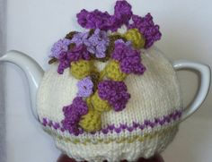Scottish thistles and sweet violets - hand knitted and crocheted large tea cosy