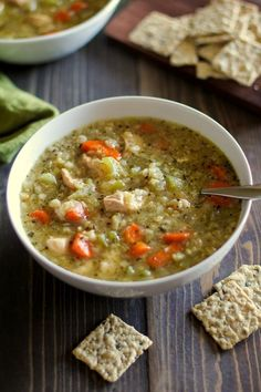 (Leave out the optional wine) Crock Pot Chicken and Rice Soup - a super easy and healthy meal made in the slow cooker. Serve with an extra 1/2 grain serving (like a few brown rice crackers).