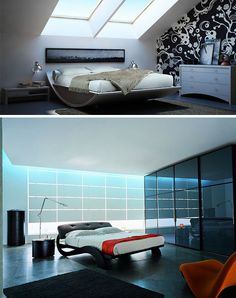 Top picture: I like the windows over the bed and how the bed is curved, almost as if it can rock like a cradle.