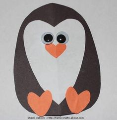 Valentine's Day Penguin with hearts