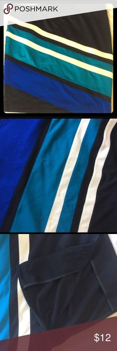 Size 22 diagonal striped skirt Mid calf length skirt.  Vibrant colors and vertical striped design.  Colors are periwinkle blue, teal, black and white.  Zipper on the side.  Nearly new condition!! Lane Bryant Skirts Midi