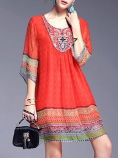 Red Silk 3/4 Sleeve H-line Mini Dress