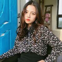 63c11271bd black lace patchwork bow tie floral print blouse long sleeve shirt women  tops retro chemise femme