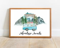 Adventure Awaits Wall Decor Teal Watercolor Van Printable Wall Art Combi Minivan Blue Watercolor Mountains Printable Travel Quote Print  This artwork features a Teal watercolor vintage combi minivan in the mountains, following a travel-inspired quote. If you do not prefer a quote, I have included another print without one, so you can choose whichever version you like more! Printing Services, Online Printing, Foods With Calcium, Printable Wall Art, Printable Quotes, Adventure Awaits, Quote Prints, Travel Quotes, Minivan