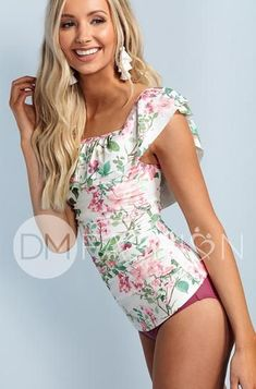 Off The Shoulder Ruched Double Ruffle Tankini Top  Dahlila Rose  - Tankini Top - Ideas of Tankini Top #TankiniTop Tankini Top, Tankini Swimsuits For Women, Modest Swimsuits, Floral One Piece Swimsuit, Ruffle Swimsuit, Full Bra, Women's Swim Tops, Double Ruffle, Bikinis