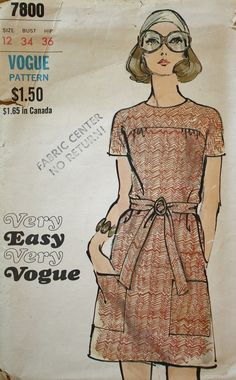 Vintage Sewing Pattern 1960s  Vogue 7800 Size 12 Bust 34