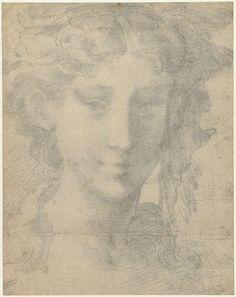Parmigianino | Hoofd van vrouw, Parmigianino, 1530 - 1535 |