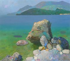 Himara seashore, oil on canvas, 80 x 70 Cm - Pashk Pervathi