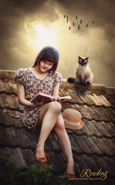 In this tutorial I am going to show you how to Create a Beautiful photo manipulation artwork using Photoshop CC. First we will to replace background image of cloud on the image the girl who is reading. Then put a cat on it and for the birds using a brush.