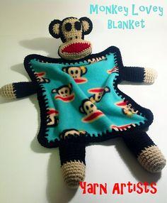 Monkey Lovey Blanket ( Paul Frank Julius Inspired) Pattern by Yarn Artists