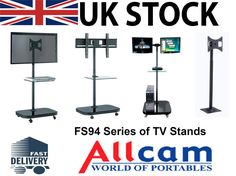 FS94 Series LED/LCD TV Trolley Floor Stand w/ Mounting Bracket & Glass Shelf | eBay
