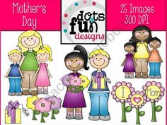 Mothers Day Graphics from Dots of Fun  on TeachersNotebook.com (25 pages)  - Mothers Day Graphics by Dots of Fun Designs