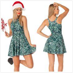 New 2014 Women Brand Summer Christmas Tree Print Milk Pleated Dress,Ladies Sexy Green Mini Causal Beach Dress L Free Shipping $24.05