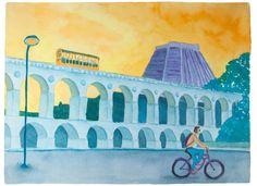 No Rio, de Bike - Arcos da Lapa, Rio de Janeiro - Aquarela 2015