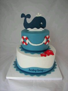 6 Modelos de Bolos Decorados para Festa Infantil - Nautical Baby Names - Ideas of Nautical Baby Names - this would be an amazing shower cake for a little boy named Jonah. noah and jonah! Baby Cakes, Cupcake Cakes, Pink Cakes, Food Cakes, Gateau Baby Shower Garcon, Whale Cakes, Bolo Fack, Whale Birthday, 25th Birthday