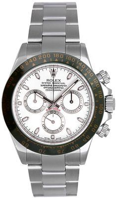 Rolex Daytona Steel watches with attractive white dial and black ceramic bezel, rank as one among the most iconic and highly coveted Rolex luxury watches ever made. Rolex Daytona Steel watches can rig