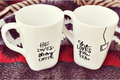 He loves strong coffee.... She loves steeped* tea :)