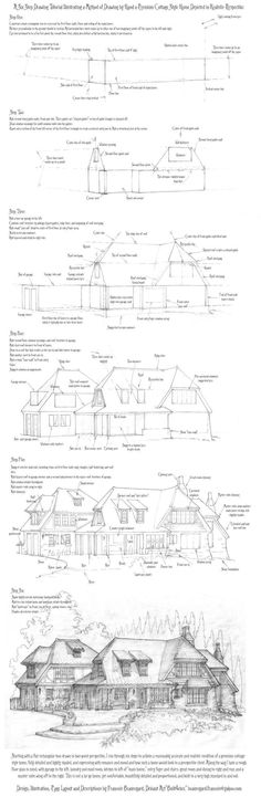 Perspective Drawing Tutorial: A Cottage Home - Drawing Reference Drawing Techniques, Drawing Tips, Drawing Reference, Drawing Sketches, Drawing Ideas, Cartoon Drawings, Pencil Drawings, Art Drawings, Draw Tutorial