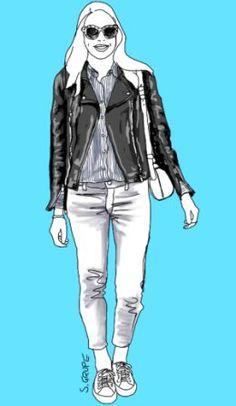 Ein Casual Outfit mit Jeans und Sneakers wird sofort cool, wenn Sie eine Biker-Jacke addieren.