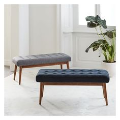 West Elm Mid-Century Bench, Tweed, Salt + Pepper ($239) ❤ liked on Polyvore featuring home, furniture, benches, west elm, midcentury furniture, west elm bench, mid-century modern furniture and foot bench