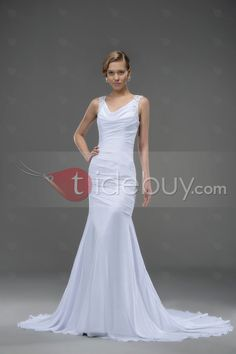 Vネックドレープチャペルのトラインシフォンマーメイドウェディングドレス