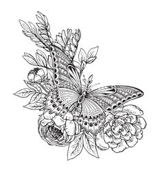 Vector illustration of hand drawn graphic butterfly on peony flowers bouquet. Black and white image for for coloring book, tattoo, print on t-shirt, bag, invitations and greeting cards. Mini Tattoos, Flower Tattoos, Coloring Books, Coloring Pages, Colouring, Borboleta Tattoo, Tattoo You, Book Tattoo, Butterfly Drawing