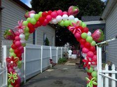 Balloon arch strawberry shortcake Balloon Arch, Balloon Garland, Balloon Decorations, Balloons, Strawberry Shortcake Birthday, Short Cake, Baby First Birthday, First Birthdays, Baby Shower