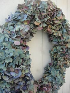 Dried Hydrangea Wreath In Multiple Colors   Indoor by donnahubbard