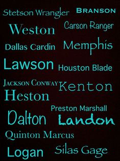 Cute boy names #western #southern